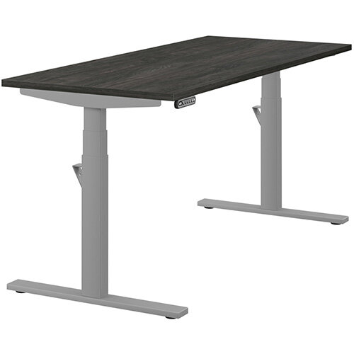 LEAP Electric Height Adjustable Rectangular Sit Stand Desk Plain Top W1600xD700xH620-1270mm Carbon Walnut Top Silver Frame. Prevents &Reduces Muscle &Back Problems, Heart Risks &Increases Brain Activity.