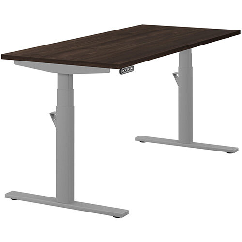 LEAP Electric Height Adjustable Rectangular Sit Stand Desk Plain Top W1600xD700xH620-1270mm Dark Walnut Top Silver Frame. Prevents &Reduces Muscle &Back Problems, Heart Risks &Increases Brain Activity.