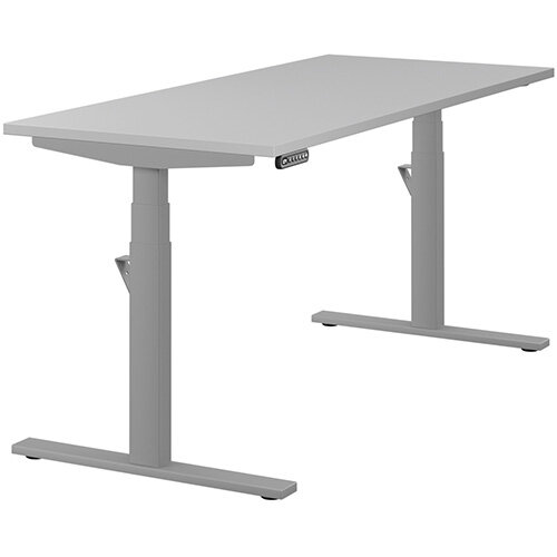 LEAP Electric Height Adjustable Rectangular Sit Stand Desk Plain Top W1600xD700xH620-1270mm Grey Top Silver Frame. Prevents &Reduces Muscle &Back Problems, Heart Risks &Increases Brain Activity.