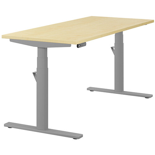 LEAP Electric Height Adjustable Rectangular Sit Stand Desk Plain Top W1600xD700xH620-1270mm Maple Top Silver Frame. Prevents &Reduces Muscle &Back Problems, Heart Risks &Increases Brain Activity.