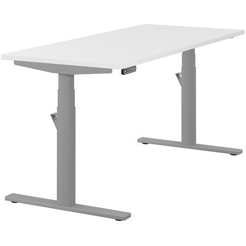 LEAP Electric Height Adjustable Rectangular Sit Stand Desk Plain Top W1600xD700xH620-1270mm White Top Silver Frame. Prevents &Reduces Muscle &Back Problems, Heart Risks &Increases Brain Activity.