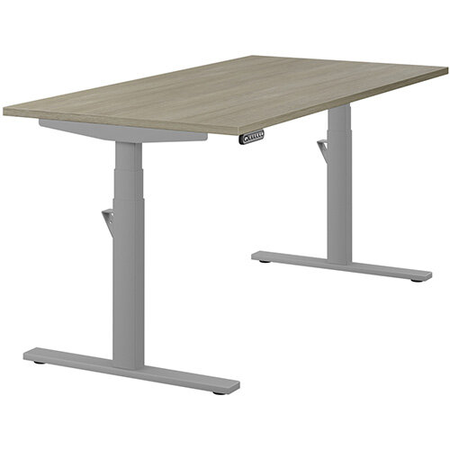 LEAP Electric Height Adjustable Rectangular Sit Stand Desk Plain Top W1600xD800xH620-1270mm Arctic Oak Top Silver Frame. Prevents &Reduces Muscle &Back Problems, Heart Risks &Increases Brain Activity.