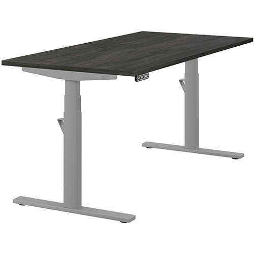 LEAP Electric Height Adjustable Rectangular Sit Stand Desk Plain Top W1600xD800xH620-1270mm Carbon Walnut Top Silver Frame. Prevents &Reduces Muscle &Back Problems, Heart Risks &Increases Brain Activity.