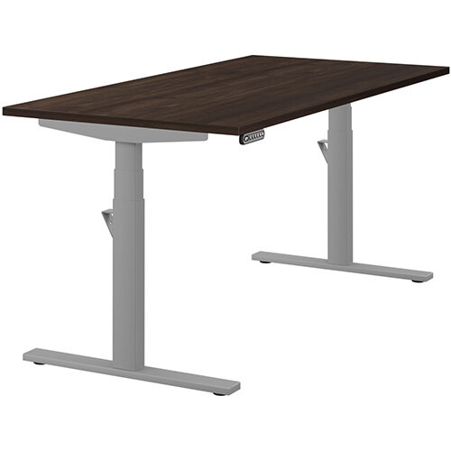 LEAP Electric Height Adjustable Rectangular Sit Stand Desk Plain Top W1600xD800xH620-1270mm Dark Walnut Top Silver Frame. Prevents & Reduces Muscle & Back Problems, Heart Risks & Increases Brain Activity.