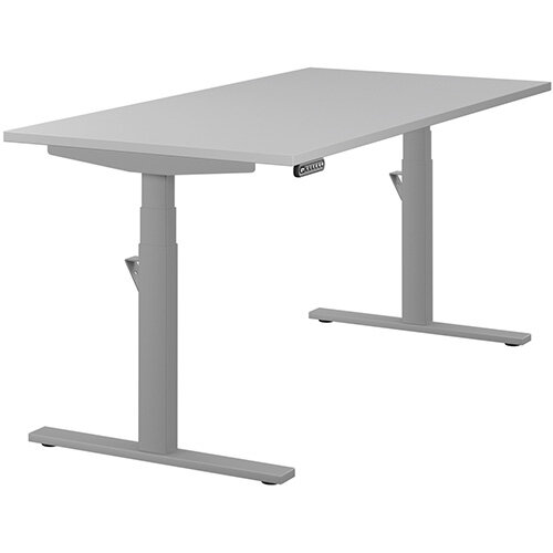 LEAP Electric Height Adjustable Rectangular Sit Stand Desk Plain Top W1600xD800xH620-1270mm Grey Top Silver Frame. Prevents &Reduces Muscle &Back Problems, Heart Risks &Increases Brain Activity.