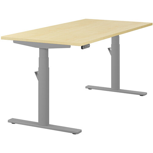 LEAP Electric Height Adjustable Rectangular Sit Stand Desk Plain Top W1600xD800xH620-1270mm Maple Top Silver Frame. Prevents &Reduces Muscle &Back Problems, Heart Risks &Increases Brain Activity.