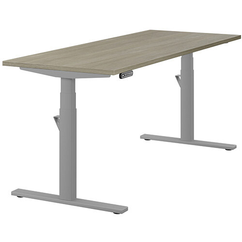 LEAP Electric Height Adjustable Rectangular Sit Stand Desk Plain Top W1800xD700xH620-1270mm Arctic Oak Top Silver Frame. Prevents &Reduces Muscle &Back Problems, Heart Risks &Increases Brain Activity.