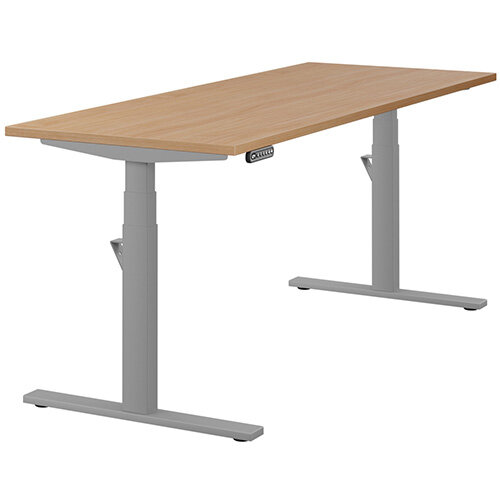 LEAP Electric Height Adjustable Rectangular Sit Stand Desk Plain Top W1800xD700xH620-1270mm Beech Top Silver Frame. Prevents &Reduces Muscle &Back Problems, Heart Risks &Increases Brain Activity.
