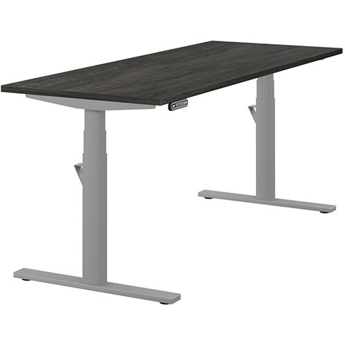 LEAP Electric Height Adjustable Rectangular Sit Stand Desk Plain Top W1800xD700xH620-1270mm Carbon Walnut Top Silver Frame. Prevents &Reduces Muscle &Back Problems, Heart Risks &Increases Brain Activity.