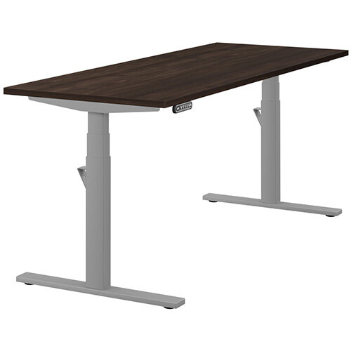 LEAP Electric Height Adjustable Rectangular Sit Stand Desk Plain Top W1800xD700xH620-1270mm Dark Walnut Top Silver Frame. Prevents &Reduces Muscle &Back Problems, Heart Risks &Increases Brain Activity.