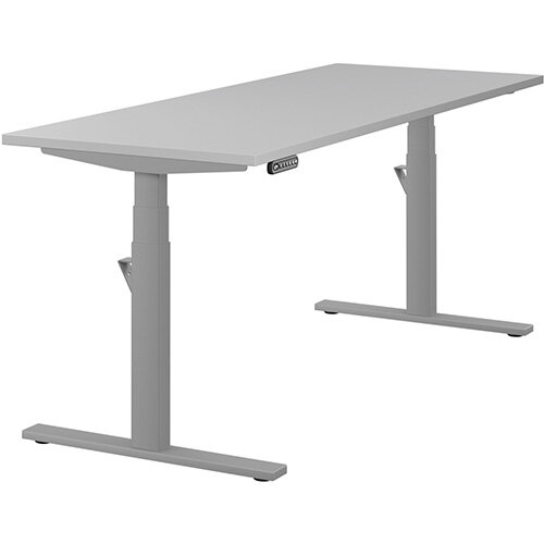 LEAP Electric Height Adjustable Rectangular Sit Stand Desk Plain Top W1800xD700xH620-1270mm Grey Top Silver Frame. Prevents &Reduces Muscle &Back Problems, Heart Risks &Increases Brain Activity.