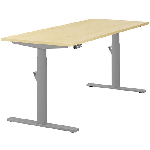 LEAP Electric Height Adjustable Rectangular Sit Stand Desk Plain Top W1800xD700xH620-1270mm Maple Top Silver Frame. Prevents &Reduces Muscle &Back Problems, Heart Risks &Increases Brain Activity.
