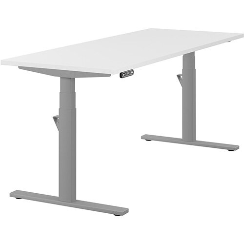 LEAP Electric Height Adjustable Rectangular Sit Stand Desk Plain Top W1800xD700xH620-1270mm White Top Silver Frame. Prevents &Reduces Muscle &Back Problems, Heart Risks &Increases Brain Activity.