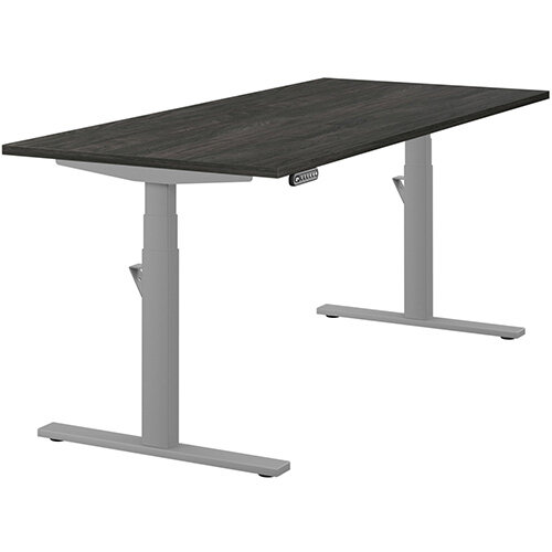 LEAP Electric Height Adjustable Rectangular Sit Stand Desk Plain Top W1800xD800xH620-1270mm Carbon Walnut Top Silver Frame. Prevents &Reduces Muscle &Back Problems, Heart Risks &Increases Brain Activity.