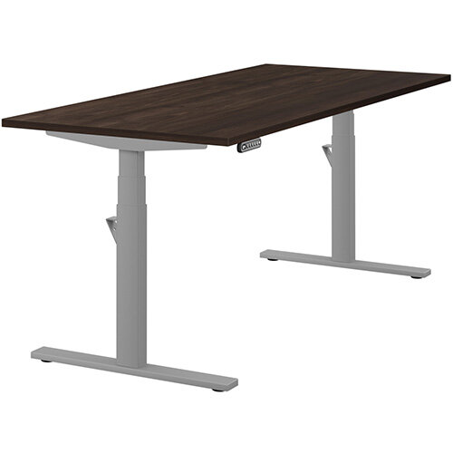 LEAP Electric Height Adjustable Rectangular Sit Stand Desk Plain Top W1800xD800xH620-1270mm Dark Walnut Top Silver Frame. Prevents &Reduces Muscle &Back Problems, Heart Risks &Increases Brain Activity.