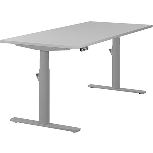 LEAP Electric Height Adjustable Rectangular Sit Stand Desk Plain Top W1800xD800xH620-1270mm Grey Top Silver Frame. Prevents &Reduces Muscle &Back Problems, Heart Risks &Increases Brain Activity.