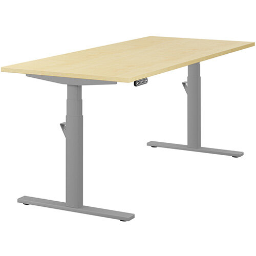 LEAP Electric Height Adjustable Rectangular Sit Stand Desk Plain Top W1800xD800xH620-1270mm Maple Top Silver Frame. Prevents &Reduces Muscle &Back Problems, Heart Risks &Increases Brain Activity.