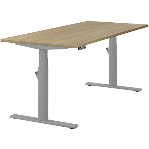 LEAP Electric Height Adjustable Rectangular Sit Stand Desk Plain Top W1800xD800xH620-1270mm Urban Oak Top Silver Frame. Prevents &Reduces Muscle &Back Problems, Heart Risks &Increases Brain Activity.