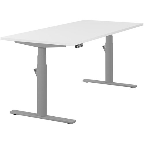 LEAP Electric Height Adjustable Rectangular Sit Stand Desk Plain Top W1800xD800xH620-1270mm White Top Silver Frame. Prevents &Reduces Muscle &Back Problems, Heart Risks &Increases Brain Activity.