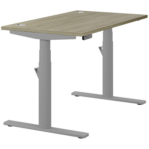 LEAP Electric Height Adjustable Rectangular Sit Stand Desk Portal Top W1200xD700xH620-1270mm Arctic Oak Top Silver Frame. Prevents & Reduces Muscle & Back Problems, Heart Risks & Increases Brain Activity.
