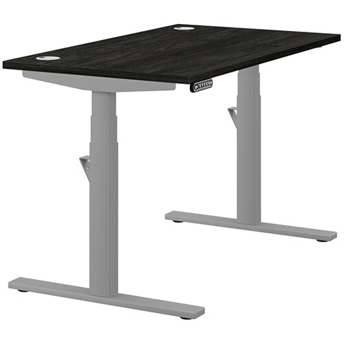 LEAP Electric Height Adjustable Rectangular Sit Stand Desk Portal Top W1200xD700xH620-1270mm Carbon Walnut Top Silver Frame. Prevents &Reduces Muscle &Back Problems, Heart Risks &Increases Brain Activity.