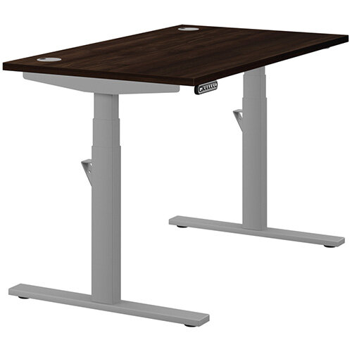 LEAP Electric Height Adjustable Rectangular Sit Stand Desk Portal Top W1200xD700xH620-1270mm Dark Walnut Top Silver Frame. Prevents &Reduces Muscle &Back Problems, Heart Risks &Increases Brain Activity.
