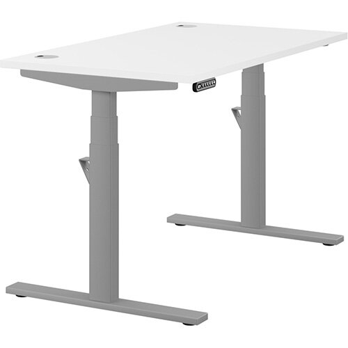LEAP Electric Height Adjustable Rectangular Sit Stand Desk Portal Top W1200xD700xH620-1270mm White Top Silver Frame. Prevents &Reduces Muscle &Back Problems, Heart Risks &Increases Brain Activity.