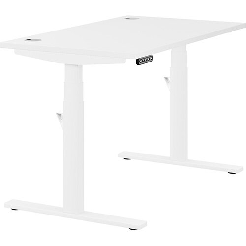 LEAP Electric Height Adjustable Rectangular Sit Stand Desk Portal Top W1200xD700xH620-1270mm White Top White Frame. Prevents &Reduces Muscle &Back Problems, Heart Risks &Increases Brain Activity.