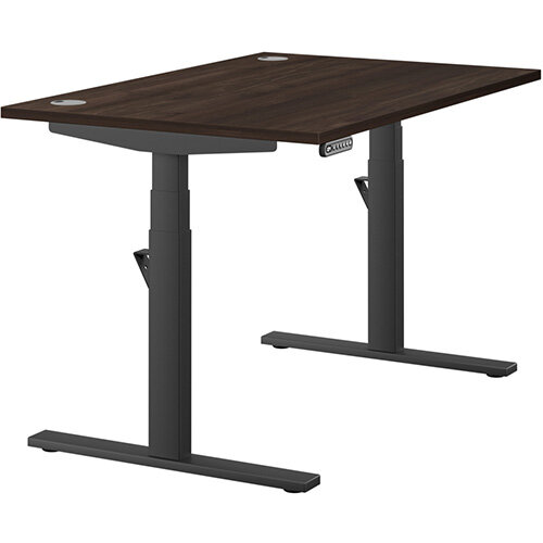 LEAP Electric Height Adjustable Rectangular Sit Stand Desk Portal Top W1200xD800xH620-1270mm Dark Walnut Top Black Frame. Prevents &Reduces Muscle &Back Problems, Heart Risks &Increases Brain Activity.