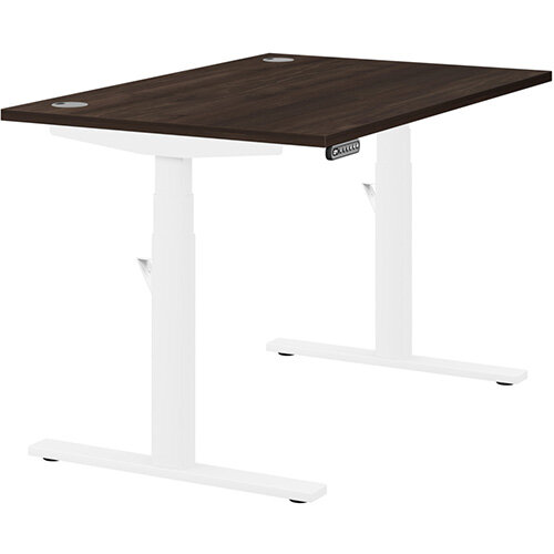 LEAP Electric Height Adjustable Rectangular Sit Stand Desk Portal Top W1200xD800xH620-1270mm Dark Walnut Top White Frame. Prevents &Reduces Muscle &Back Problems, Heart Risks &Increases Brain Activity.