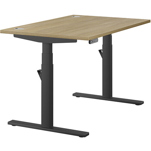 LEAP Electric Height Adjustable Rectangular Sit Stand Desk Portal Top W1200xD800xH620-1270mm Urban Oak Top Black Frame. Prevents &Reduces Muscle &Back Problems, Heart Risks &Increases Brain Activity.