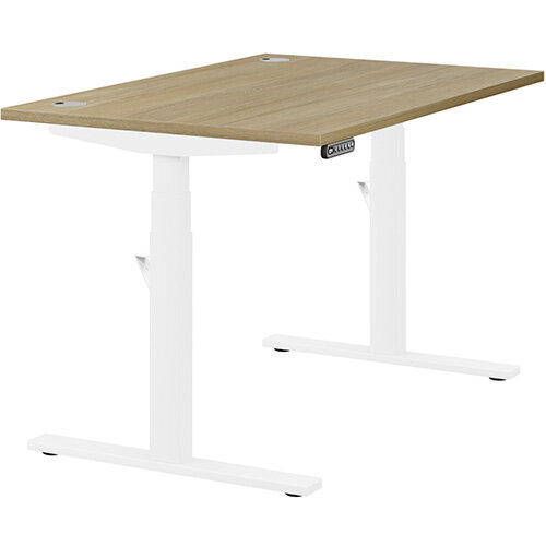 LEAP Electric Height Adjustable Rectangular Sit Stand Desk Portal Top W1200xD800xH620-1270mm Urban Oak Top White Frame. Prevents &Reduces Muscle &Back Problems, Heart Risks &Increases Brain Activity.