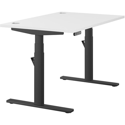 LEAP Electric Height Adjustable Rectangular Sit Stand Desk Portal Top W1200xD800xH620-1270mm White Top Black Frame. Prevents &Reduces Muscle &Back Problems, Heart Risks &Increases Brain Activity.