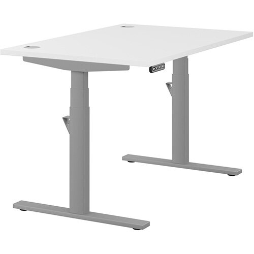 LEAP Electric Height Adjustable Rectangular Sit Stand Desk Portal Top W1200xD800xH620-1270mm White Top Silver Frame. Prevents &Reduces Muscle &Back Problems, Heart Risks &Increases Brain Activity.