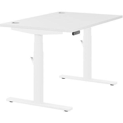 LEAP Electric Height Adjustable Rectangular Sit Stand Desk Portal Top W1200xD800xH620-1270mm White Top White Frame. Prevents &Reduces Muscle &Back Problems, Heart Risks &Increases Brain Activity.