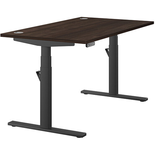 LEAP Electric Height Adjustable Rectangular Sit Stand Desk Portal Top W1400xD800xH620-1270mm Dark Walnut Top Black Frame. Prevents &Reduces Muscle &Back Problems, Heart Risks &Increases Brain Activity.