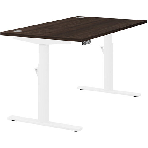 LEAP Electric Height Adjustable Rectangular Sit Stand Desk Portal Top W1400xD800xH620-1270mm Dark Walnut Top White Frame. Prevents &Reduces Muscle &Back Problems, Heart Risks &Increases Brain Activity.