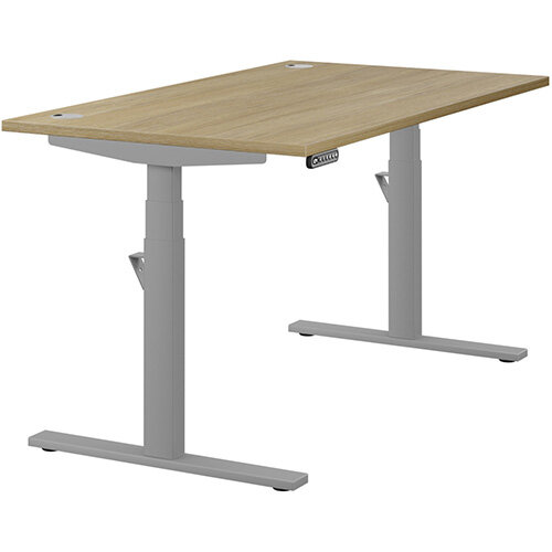 LEAP Electric Height Adjustable Rectangular Sit Stand Desk Portal Top W1400xD800xH620-1270mm Urban Oak Top Silver Frame. Prevents &Reduces Muscle &Back Problems, Heart Risks &Increases Brain Activity.