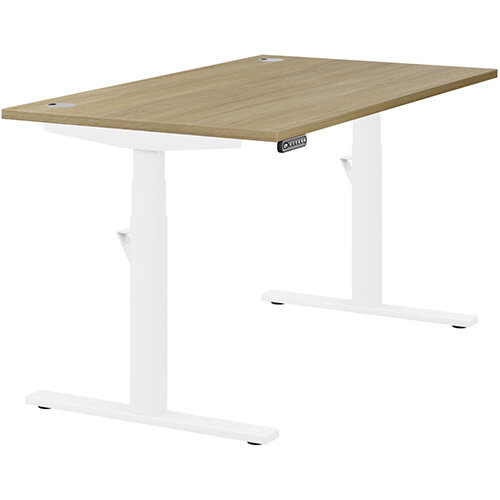 LEAP Electric Height Adjustable Rectangular Sit Stand Desk Portal Top W1400xD800xH620-1270mm Urban Oak Top White Frame. Prevents &Reduces Muscle &Back Problems, Heart Risks &Increases Brain Activity.