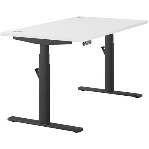 LEAP Electric Height Adjustable Rectangular Sit Stand Desk Portal Top W1400xD800xH620-1270mm White Top Black Frame. Prevents &Reduces Muscle &Back Problems, Heart Risks &Increases Brain Activity.