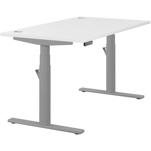 LEAP Electric Height Adjustable Rectangular Sit Stand Desk Portal Top W1400xD800xH620-1270mm White Top Silver Frame. Prevents &Reduces Muscle &Back Problems, Heart Risks &Increases Brain Activity.