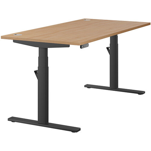LEAP Electric Height Adjustable Rectangular Sit Stand Desk Portal Top W1600xD800xH620-1270mm Beech Top Black Frame. Prevents &Reduces Muscle &Back Problems, Heart Risks &Increases Brain Activity.