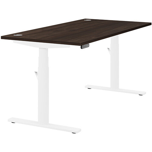 LEAP Electric Height Adjustable Rectangular Sit Stand Desk Portal Top W1600xD800xH620-1270mm Dark Walnut Top White Frame. Prevents &Reduces Muscle &Back Problems, Heart Risks &Increases Brain Activity.