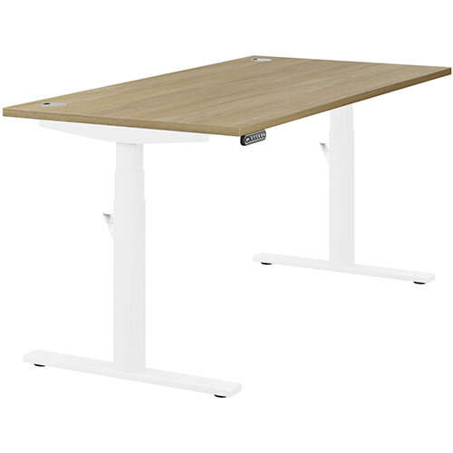 LEAP Electric Height Adjustable Rectangular Sit Stand Desk Portal Top W1600xD800xH620-1270mm Urban Oak Top White Frame. Prevents &Reduces Muscle &Back Problems, Heart Risks &Increases Brain Activity.