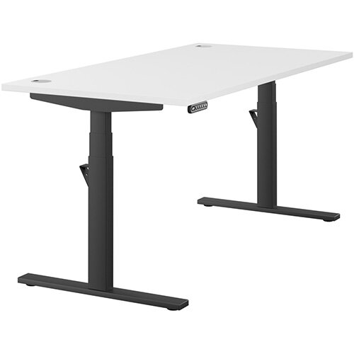 LEAP Electric Height Adjustable Rectangular Sit Stand Desk Portal Top W1600xD800xH620-1270mm White Top Black Frame. Prevents &Reduces Muscle &Back Problems, Heart Risks &Increases Brain Activity.