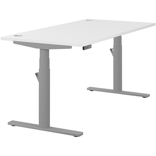 LEAP Electric Height Adjustable Rectangular Sit Stand Desk Portal Top W1600xD800xH620-1270mm White Top Silver Frame. Prevents &Reduces Muscle &Back Problems, Heart Risks &Increases Brain Activity.