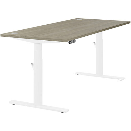LEAP Electric Height Adjustable Rectangular Sit Stand Desk Portal Top W1800xD800xH620-1270mm Arctic Oak Top White Frame. Prevents &Reduces Muscle &Back Problems, Heart Risks &Increases Brain Activity.