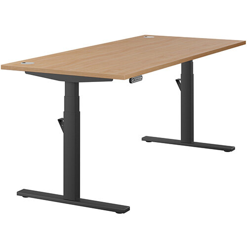 LEAP Electric Height Adjustable Rectangular Sit Stand Desk Portal Top W1800xD800xH620-1270mm Beech Top Black Frame. Prevents &Reduces Muscle &Back Problems, Heart Risks &Increases Brain Activity.