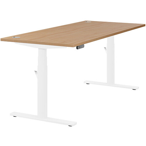 LEAP Electric Height Adjustable Rectangular Sit Stand Desk Portal Top W1800xD800xH620-1270mm Beech Top White Frame. Prevents &Reduces Muscle &Back Problems, Heart Risks &Increases Brain Activity.