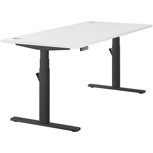 LEAP Electric Height Adjustable Rectangular Sit Stand Desk Portal Top W1800xD800xH620-1270mm White Top Black Frame. Prevents &Reduces Muscle &Back Problems, Heart Risks &Increases Brain Activity.
